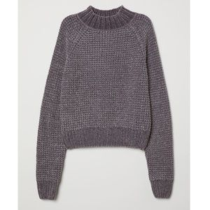 H&M DIVIDED Mock Neck Chenille Cropped Sweater